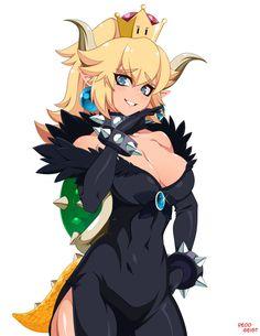 Queen Bowsette by ReddGeist on DeviantArt Manga Girl, Anime Art Girl, Anime Girls, Fantasy Characters, Anime Characters, Nintendo Princess, Super Mario Art, Thicc Anime, Illustration