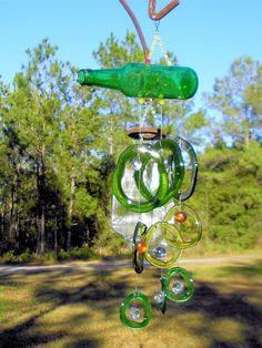 Slumped Glass Bottle Ornaments and Windchimes