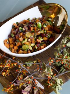 A brussels sprouts hash with sweet potatoes and cranberries.