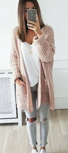 #spring #outfits   Blush Cardigan & Grey Destroyed Skinny Jeans