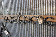 Horse Shoe Welcome sign, Made by Mike Hill, Artist Blacksmith. $75.00, via Etsy.