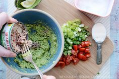 Avocado and Tuna Salad Wrap   Easy meal with less fat than traditional tuna salad...the avocado is a delicious addition!