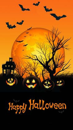 Halloween wallpaper by Nupsukka - fe - Free on ZEDGE™ Retro Halloween, Spooky Halloween, Halloween Cat Crafts, Halloween Kunst, Fröhliches Halloween, Adornos Halloween, Halloween Artwork, Halloween Painting, Halloween Prints
