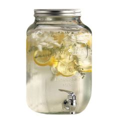 Effortlessly serve crisp iced tea and sweet sangria with this mason jar-inspired beverage dispenser, featuring a tin lid and a 2-gallon capacity.