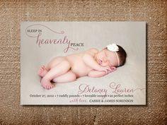 Christmas Birth Announcement, Christmas Card, Heavenly Peace on Etsy, $15.00