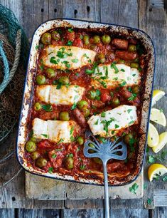 Spicy merguez and cod tray roast Spicy, smoky lamb merguez gives this sauce a rich, deep flavour and combines really well with the cod. You could also use cooking chorizo for a similar result.