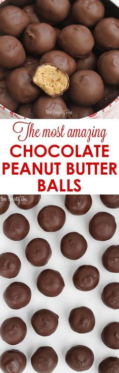The most amazing chocolate peanut butter ball recipe! Only 5 ingredients!