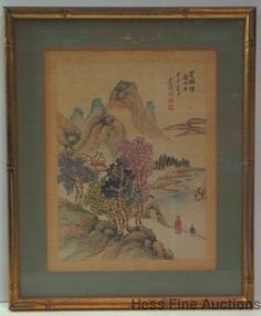 Antique Signed Stamped Chinese Japanese Watercolor Landscape Painting NYC Prov 2