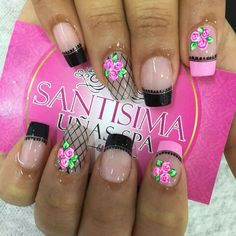 No lace portion just double thin line Easy Nail Art, Manicure And Pedicure, Spring Nails, You Nailed It, Fun Nails, Nail Designs, Nail Polish, Make Up, Fancy