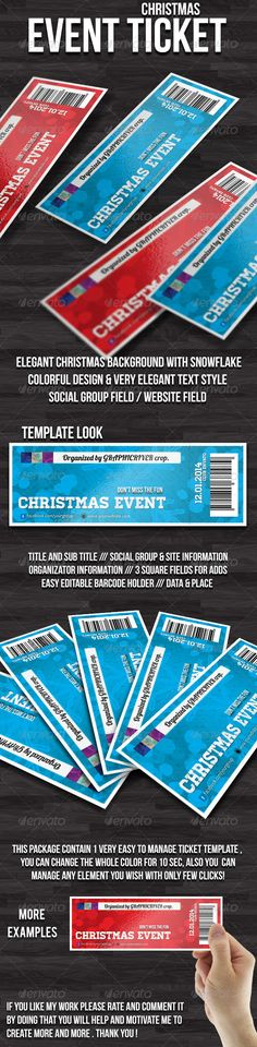 Christmas event ticket #GraphicRiver Hello, this is CHRISTMAS event TICKET template. Features: Format (6×2 inches) 300 dpi / CMYK (Bleeds 0,25) 1 style already included Photoshop Source Files All Paragraph/Objects and Layers organised and grouped Strong, Clean Modern Layout Included Files: 2 Photoshop Files .PSD (in Layers) Extensive Help File .PDF Fonts Used (only free fonts used): Lobster ( .dafont /lobster.font) Homestead ( .losttype /font/?name=homestead) Bebas Neue ( .dafont…