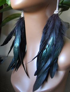 Long  Black Feather Earrings Iridescent by MarcieRoxx on Etsy, $42.00. I personally bought these, and they are BEAUTIFUL!