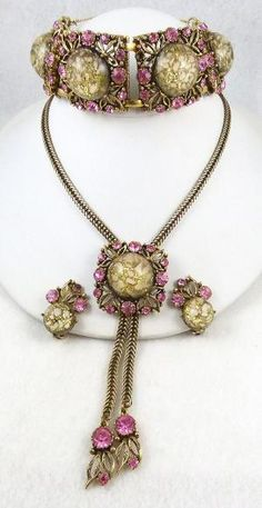 Selro Confetti Lucite Pink Rhinestone Parure - Garden Party Collection Vintage Jewelry $389.00