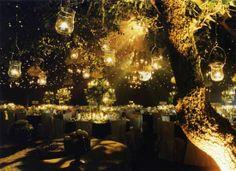 Enchanted Forest Inspired Wedding Reception Design.  Loooove  #wedding #inspiration #lights