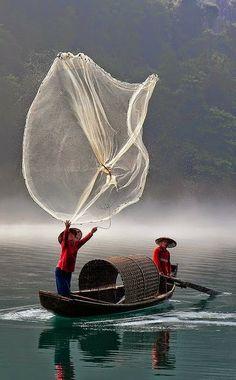 Fishing in Chenzhou, Hunan, China.