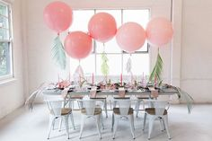 Tropical pastel baby shower balloons by us at belle balloons, styles by party with lenzo