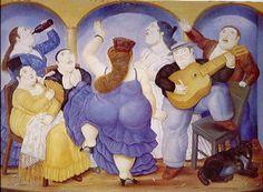 """""""TABLAO  FLAMENCO """" (1989), de Fernando Botero.  Un tablao es un local en el que tienen lugar espectáculos flamencos.  Los Tablaos flamencos son pequeños locales heredados de los antiguos cafés-cantantes, el espacio ideal para captar un arte que es especialmente íntimo, el escenario idóneo para saborear y vivir el flamenco en su estado profesional más natural.  Se desarrollaron durante los años 1960 por toda España sustituyendo a los «cafés cantantes».."""