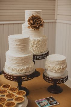 Austin Thursday Therapy wedding industry networking; burlap, buttercream wedding cake, wrought iron stand. Photo by Mercedes Morgan Photography Altar Ego Weddings - Dallas-Fort Worth, Hill Country, Austin wedding planner