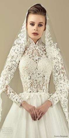 fadwa baalbaki spring 2017 couture illusion long sleeves high neck lace a line wedding dress (11) zfv -- Fadwa Baalbaki Spring 2017 Couture Dresses