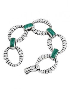 Malachite, rock crystal (doublet), and sterling silver finished link bracelet | LAGOS Jewelry
