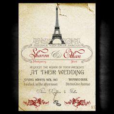 Vintage Paris Wedding Invitation Vintage by DivineGiveDigital, $21.00