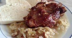 Domácí knedlíky, pečené plece na česneku a kyselé zelí ... Spinach, Grains, Pork, Rice, Cooking Recipes, Beef, Chicken, Meat, Kale Stir Fry