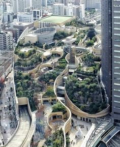 The rooftop park connects to the street eight levels below. Thanks Design Bunker Firenze for the suggestion! Extraordinary urban projects such as Osakas rooftop Namba Parks or New Yorks aerial green Landscape Architecture Design, Futuristic Architecture, Amazing Architecture, Landscape Architects, Architecture Interiors, Namba Parks, Parking Design, Urban Planning, Urban Landscape