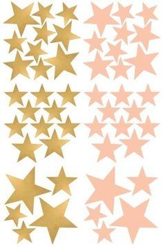 Muurstickers Kinderkamer 'Sterren' goud/roze van POM (Pöm Le Bonhomme)
