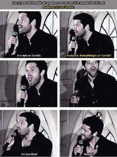 [SET OF GIFS] Misha convention panel #AE2012. Misha don't you know by now that everything is on tumblr.^^ pinning for his face :))