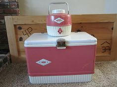 Vintage 60s Rare Set Coleman Diamond Ice Chest with Water Jug in Pink & White