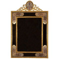 Attractive Wall Mirror with Gilt Brass Mounts and Champlevé Enamel Fields 1