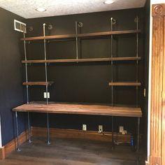 Two Seat Butcher Block Office Desk Built-In Black Pipe Shelving, Diy Pipe Shelves, Desk Shelves, Liquor Shelves, Diy Built In Shelves, Solid Wood Desk, Solid Wood Shelves, Home Office Design, Home Office Decor