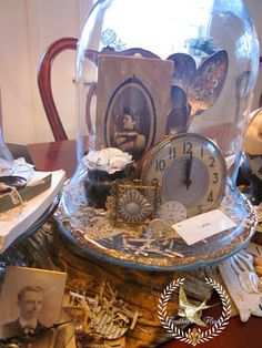 Vintage vignette.. Great use of vintage items you otherwise would have stored away.