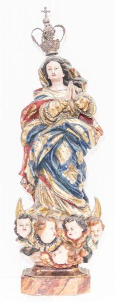 Imagem de Nossa Senhora da Conceição, madeira policromada. Brasil, século XVIII. Alt. 50cm. Não vendido. Base 8.000,00