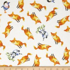 Friends in Wild Places Foxes, Pandas, Penguins White from @fabricdotcom  Designed for Clothworks, this cotton print is perfect for quilting, apparel and home decor accents. Colors include shades of blue, green, red, orange, brown, yellow, grey, black, and white.