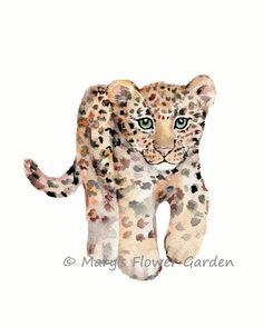 Bengalkatze Aquarell Print-Dschungel von Marysflowergarden auf Etsy