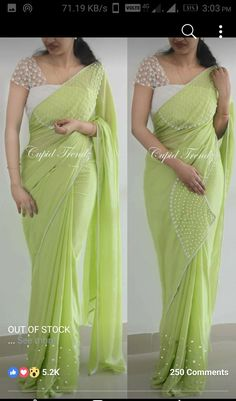 Whatsapp on 9496803123 to customise handwork and cutwork sarees dresses bridal wear gowns etc New Saree Blouse Designs, Fancy Blouse Designs, Kurta Designs, Dress Designs, Trendy Sarees, Fancy Sarees, Stylish Sarees, Saree Models, Blouse Models
