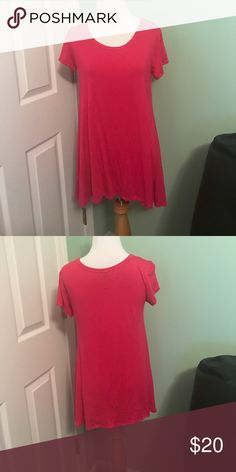 Pink Long Scoop Tee GooYou Long Asymmetrical Hem Scoop neck Pink Tee.  Beautiful color and very soft.  Great over leggings as it will cover the bum!!!  95% Rayon 5% Spandex GooYoo Tops Tees - Short Sleeve