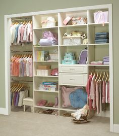 Throw out convention when planning your child's room and closet! This design offers much more storage space for things other than hanging clothes.