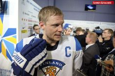 Finland's captain Mikko Koivu meets media in mixed zone after the Group H preliminary game Finland vs Canada in the 2012 IIHF Ice Hockey World Championships in Helsinki, Finland on May 11th