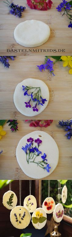 DIY / how to make a beautiful *salt dough* mobile with pressed flowers ♥