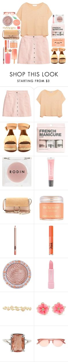 """""""pink and peach"""" by issuri ❤ liked on Polyvore featuring H&M, Elizabeth and James, Chloé, Rodin, MAKE UP STORE, Sara Happ, Charlotte Tilbury, Too Faced Cosmetics, Charlotte Russe and Forever 21"""