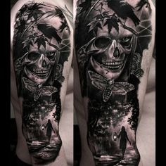 best full sleeve tattoos ever Skull Sleeve Tattoos, Skull Girl Tattoo, Half Sleeve Tattoos Designs, Leg Tattoos, Tattoos For Guys, Tattoo Designs, Creepy Tattoos, Badass Tattoos, Cool Tattoos
