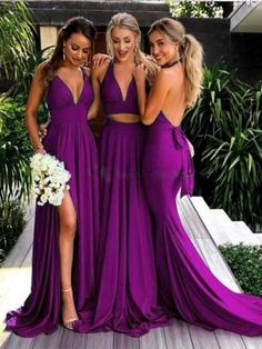 Purple Print Fashion One Piece Cocktail Party Maxi Dress Source by . Purple Print Fashion One Piece Cocktail Party Maxi Dress Source by Backless Bridesmaid Dress, Halter Maxi Dresses, Backless Wedding, Magenta Bridesmaid Dresses, Braids Maid Dresses, V Neck Dress, The Dress, Maid Of Honour Dresses, Western Dresses