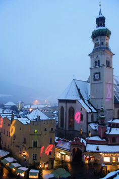 Hall Christmas Market, with unmatched Christmas illuminations on houses in the town center.
