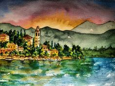 Lake Como  #lakecomo #como #italy #italia  #bellaitalia #mediterranean #lombardi #lombardy #sunsetporn #watercolor #watercolors #watercolorpainting #artworks Watercolors, Watercolor Paintings, Como Italy, Lake Como, Artworks, Sunset, Instagram, Water Colors, Sunsets
