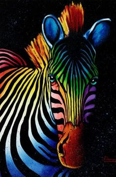 Zebra art by Steven Schuman Zebra Painting, Zebra Art, Rainbow Zebra, Rainbow Colors, Zebra Pictures, Colorful Animals, Arte Pop, Animal Paintings, Oeuvre D'art