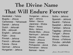 See Jehovah God's personal name in various languages.