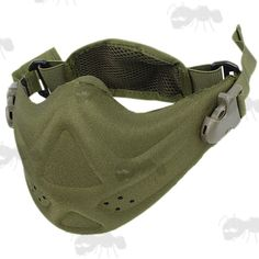 Hard Foam Lower Face Airsoft Mask in Green