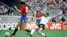 Spain 1 West Germany 0 in 1984 in Paris. Salvador Garcia gets away from Uli Stielike in the Group B cruncher at Euro '84.