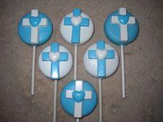 1 chocolate baby shower heart cross molded oreo lollipop lollipops | sapphirechocolates - Edibles on ArtFire